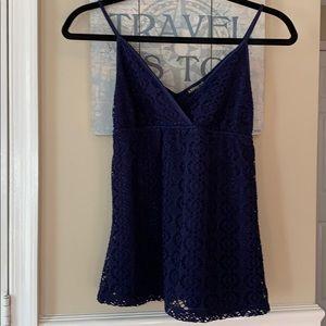 Express Tops - Express Babydoll Navy Crochet-like Top Sz XS